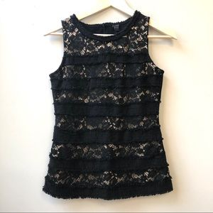 J Crew Fringey Tweed and Lace Top Black Nude XS